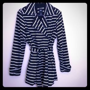 Navy blue and white stripped trench coat from GAP.